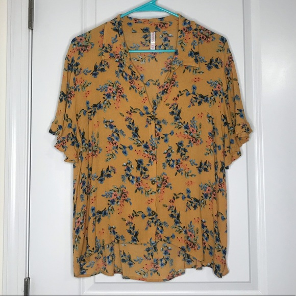 Xhilaration Tops - Floral Mustard Blouse